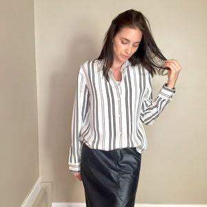 Everlane Black White Striped Button Down Blouse